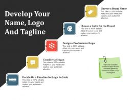 Develop Your Name Logo And Tagline Ppt Model