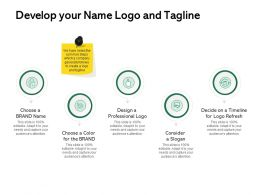 Develop Your Name Logo And Tagline Ppt Powerpoint Presentation Outline