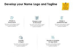 Develop Your Name Logo And Tagline Ppt Powerpoint Presentation Slides