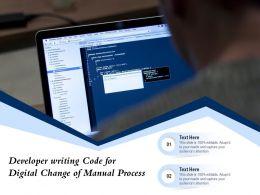 Developer Writing Code For Digital Change Of Manual Process