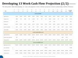Developing 13 Week Cash Flow Projection Liquidity Business Turnaround Plan Ppt Rules