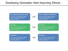 Developing Generation Next Improving Ethical Behavior Improving Quality