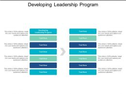 Developing Leadership Program Ppt Powerpoint Presentation File Images Cpb