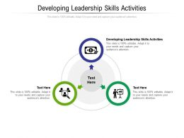 Developing Leadership Skills Activities Ppt Powerpoint Presentation Slides Design Templates Cpb