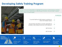 Developing Safety Training Program Ppt Powerpoint Presentation File Professional