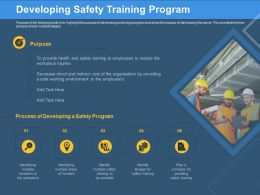Developing Safety Training Program Safe Working Ppt Powerpoint Presentation Summary Designs