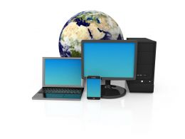 Devices With Globe Showing Concept Of Global Communication Stock Photo