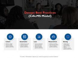 Devops Best Practices Calms Model Ppt Powerpoint Presentation File Display