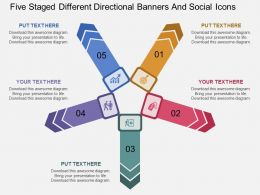 df Five Staged Different Directional Banners And Social Icons Flat Powerpoint Design