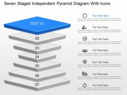 df Seven Staged Independent Pyramid Diagram With Icons Powerpoint Template