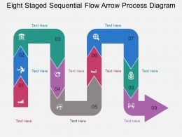 dg Eight Staged Sequential Flow Arrow Process Diagram Flat Powerpoint Design