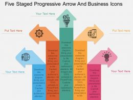 dg Five Staged Progressive Arrow And Business Icons Flat Powerpoint Design