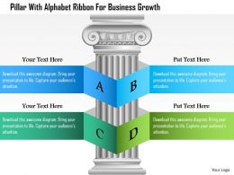 Dg Pillar With Alphabet Ribbon For Business Growth Powerpoint Template