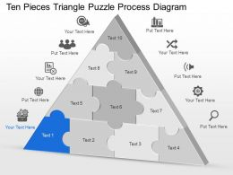 Dg Ten Pieces Triangle Puzzle Process Diagram Powerpoint Template