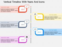 Dg Vertical Timeline With Years And Icons Flat Powerpoint Design