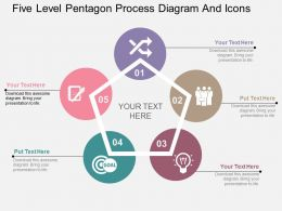 dh Five Level Pentagon Process Diagram And Icons Flat Powerpoint Design