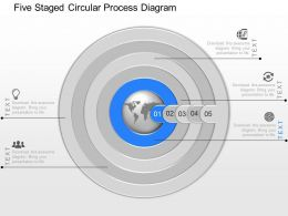 dh Five Staged Circular Process Diagram Powerpoint Template
