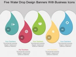 dh Five Water Drop Design Banners With Business Icons Flat Powerpoint Design