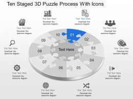 Dh Ten Staged 3d Puzzle Process With Icons Powerpoint Template