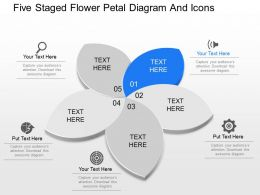 di Five Staged Flower Petal Diagram And Icons Powerpoint Template