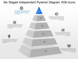 di Six Staged Independent Pyramid Diagram With Icons Powerpoint Template