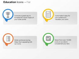 Di Trophy Calculator Checklist Abacus Ppt Icons Graphics