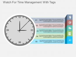 Di Watch For Time Management With Tags Flat Powerpoint Design