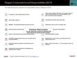 Diageo Corporate Social Responsibility 2019