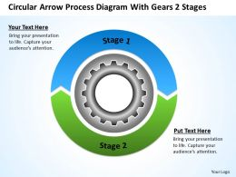 Diagram Business Process Circular Arrow With Gears 2 Stages Powerpoint Slides