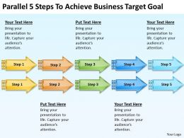 Diagram Of Business Cycle Parallel 5 Steps To Achieve Target Goal Powerpoint Slides