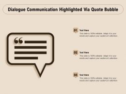 Dialogue Communication Highlighted Via Quote Bubble
