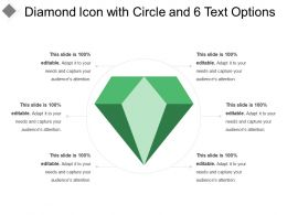 Diamond Icon With Circle And 6 Text Options