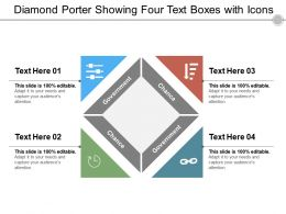 Diamond Porter Showing Four Text Boxes With Icons