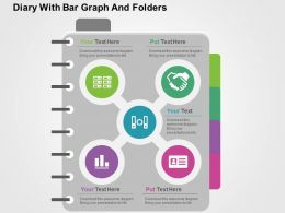 Diary With Bar Graph And Folders Flat Powerpoint Design