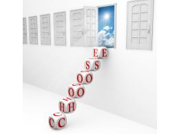Dice Ladder With Choose Word And Way Out Door Stock Photo