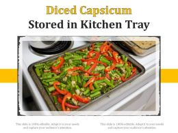 Diced Capsicum Stored In Kitchen Tray