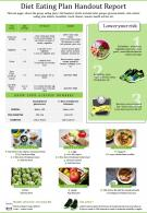 Diet Eating Plan Handout Report Presentation Report Infographic PPT PDF Document