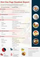 Diet One Page Handout Report Presentation Report Infographic PPT PDF Document