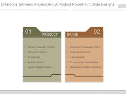 Difference Between A Brand And A Product Powerpoint Slide Designs