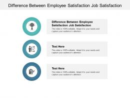 Difference Between Employee Satisfaction Job Satisfaction Ppt Powerpoint Presentation Visual Aids Infographics Cpb