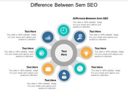 Difference Between Sem SEO Ppt Powerpoint Presentation Gallery Smartart Cpb