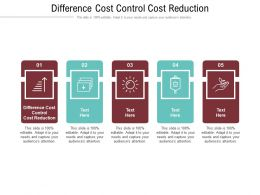 Difference Cost Control Cost Reduction Ppt Powerpoint Presentation Infographics Topics Cpb