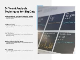 Different Analysis Techniques For Big Data