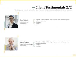 Different Aspects Of Retirement Planning Client Testimonials Customers Ppt Show