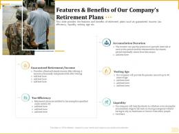 Different Aspects Of Retirement Planning Features And Benefits Of Our Companys Retirement Plans Ppt Grid