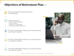 Different Aspects Of Retirement Planning Objectives Of Retirement Plan Ppt Brochure
