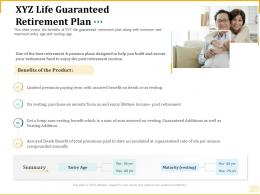 Different Aspects Of Retirement Planning XYZ Life Guaranteed Retirement Plan Ppt Templates