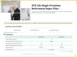 Different Aspects Of Retirement Planning XYZ Life Single Premium Retirement Super Plan Ppt Slides
