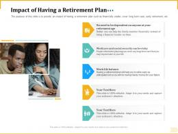 Different Aspects Retirement Planning Impact Of Having A Retirement Plan Slide Social Security Ppt Grid