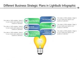 Different Business Strategic Plans In Lightbulb Infographic